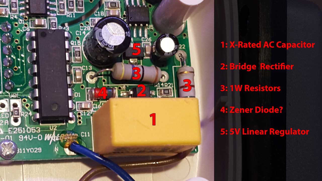 Iot Doorbell Part 2 Feather Huzzah Esp8266 Chris Barr Builds Voltage Divider To Step Down Say A 12v Power Supply 5v Looking At The Section Of Pcb Theres Large X Rated Ac Capacitor Two 1w Resistors What Looks Like Bridge Rectifier